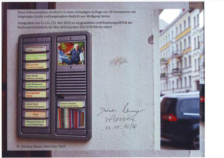Dietmar Mayer München: Fotodokumentation Wolfgang Henne, Neue Deutsche Bodensatzbibliothek, Entstehungsorte